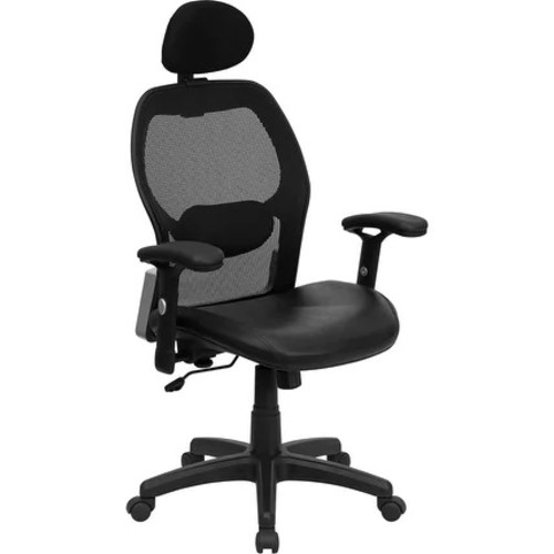 Brittany High-Back Black Mesh Leather Executive Swivel Chair w/Adjustable Arms