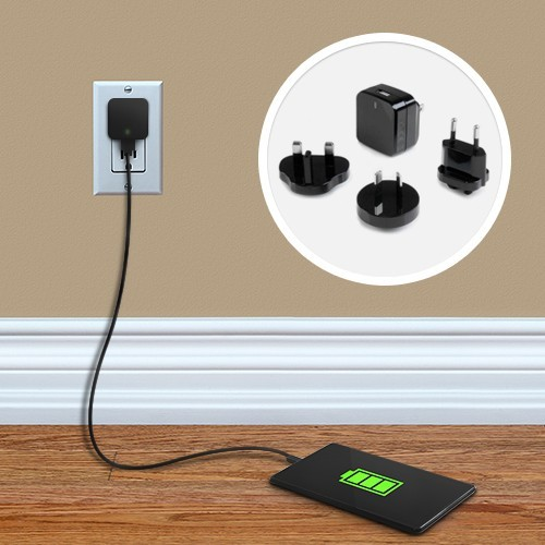 StarTech.com USB Wall Charger with Quick Charge 2.0 - Black - Travel Charger (International) 110V/220V - Qualcomm Certified (USB1PACVBK)