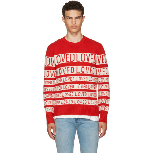 GUCCI Red & White 'Loved' Sweater