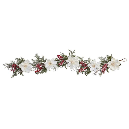 Nearly Natural 60 in. Frosted Magnolia and Berry Artificial Garland