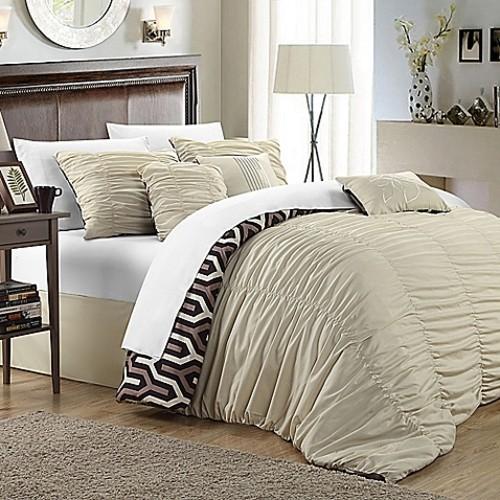 Chic Home Lassie 11-Piece King Comforter Set in Beige