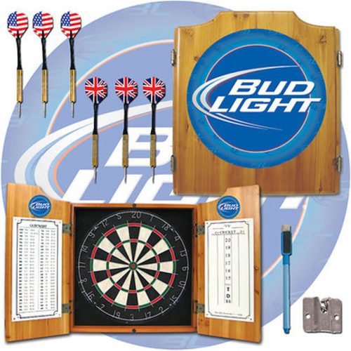 Bud Light Pine-Wood Cabinet Dartboard with 2 Dart Sets