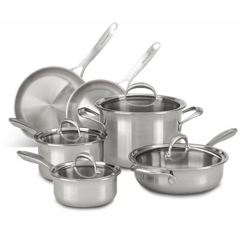 KitchenAid KC2CS10ST 10-pc. 5-Ply Copper Clad Stainless Steel Cookware Set