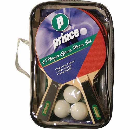 Prince 4-Player Game Room Table Tennis Racket Set With Storage Bag
