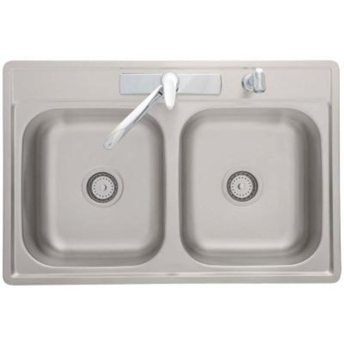 Kindred Drop-In Stainless Steel 33.in 4-Hole Double Bowl Kitchen Sink with Faucet
