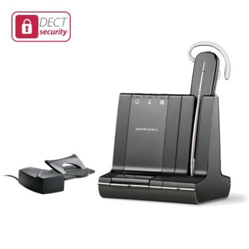 Plantronics Savi W745 DECT 6.0 Wireless Headset System w/ Noise-Canceling Microphone