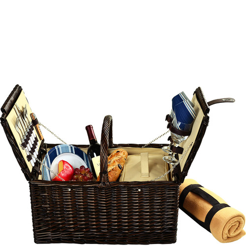 Picnic at Ascot Surrey Willow Picnic Basket with Service for 2 with Blanket - Blue Stripe [Brown Wicker/Blue Stripe Plates/Napkins]
