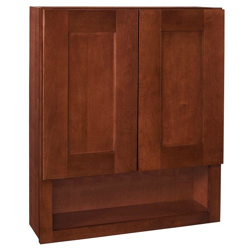 Home Decorators Collection Kingsbridge Assembled 24x30x7 in. Boutique Wall Vanity Cabinet in Cabernet