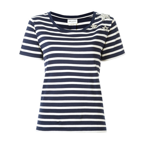 SAINT LAURENT Star Embellished Striped T-Shirt