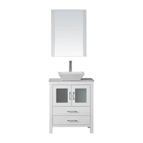 Virtu USA Dior 28 in. W x 18.3 in. D Vanity in White with Marble Vanity Top in White with White Basin and Mirror