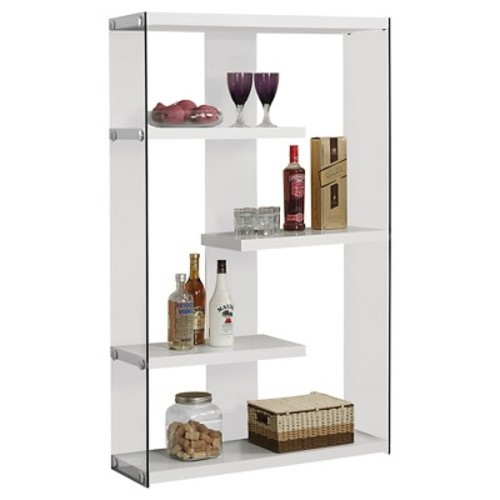 Monarch Specialties I 3290 Glossy White with Tempered Glass Bookcase, 60