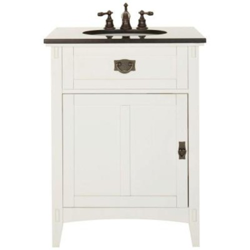 Home Decorators Collection Artisan 26 in. W Vanity in White with Natural Marble Vanity Top in Black with White Basin