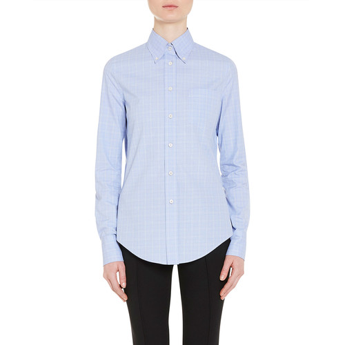 PRADA Check-Print Cotton Blouse, Blue