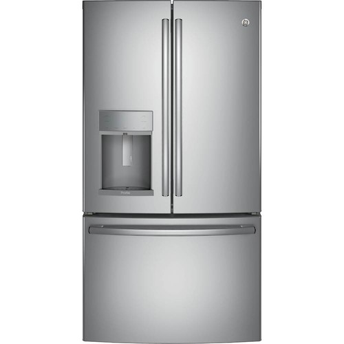 GE - Profile Series 22.2 Cu. Ft. French Door Counter-Depth Refrigerator - Stainless steel