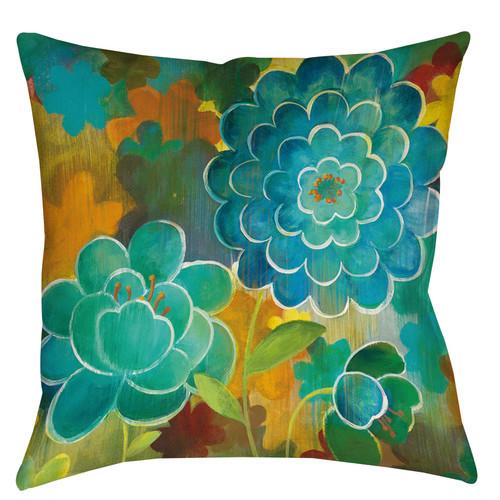 Aqua Bloom Printed Throw Pillow