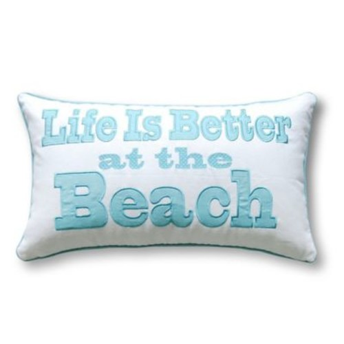 Coastal Oblong Throw Pillow in Aqua