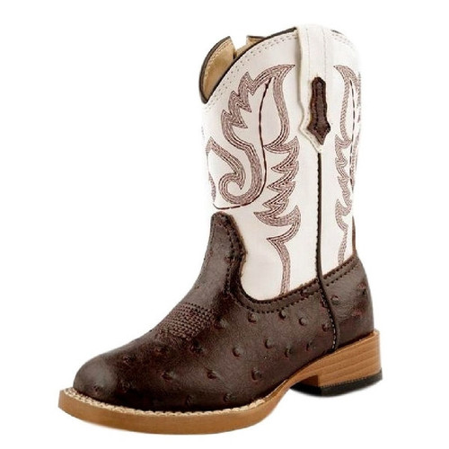 Roper Western Boots Boys Faux Ostrich Brown