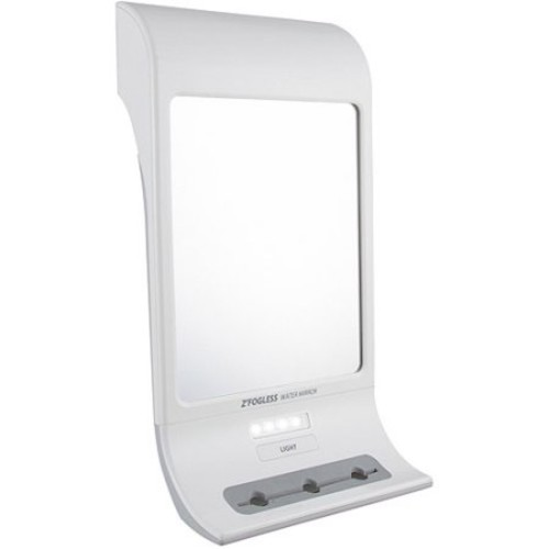 Zadro Z Fogless Water Mirror with LED Light Panel and Tri Accessory Holder, 6-Inch, White Finish