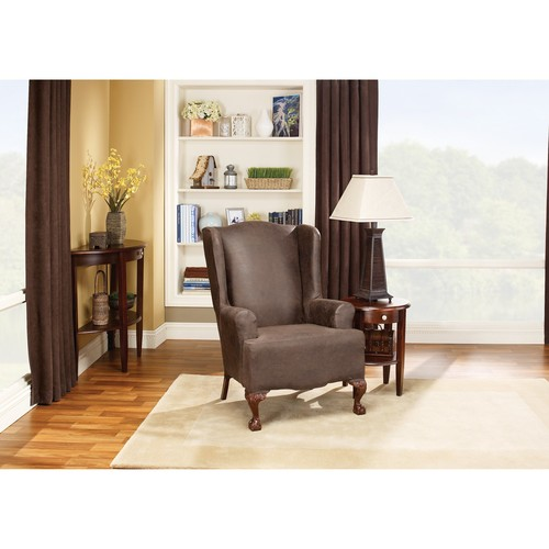 Sure Fit Stretch Leather Wing Chair Slipcover, Brown