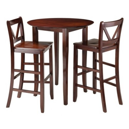 3 Piece Fiona Set High Round Table with V-Back Bar Stools Wood/Walnut - Winsome