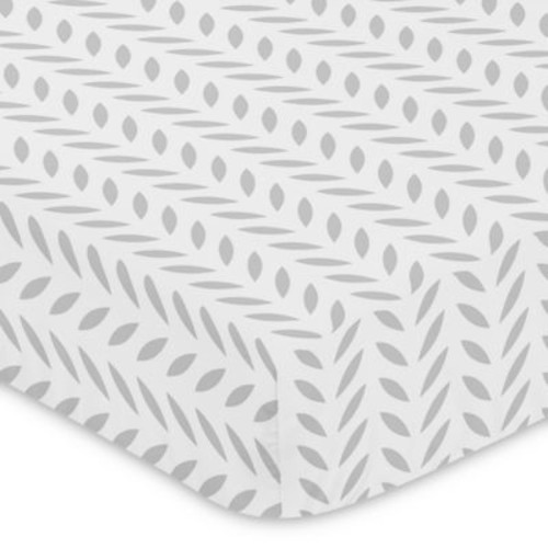 Sweet Jojo Designs Forest Deer Leaf Print Fitted Crib Sheet in Grey/White