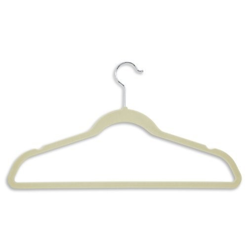 Honey-Can-Do HNG-01051 Ultra Thin Non-Slip Velvet Hangers, 20-Pack, Ivory [Ivory, Velvet Suit Hangers: 20-Pack]