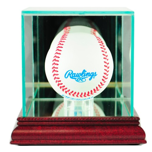 Perfect Cases Single Baseball Display Case with Cherry Finish