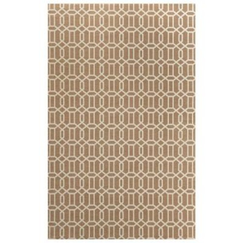Ruggable Washable Fretwork Rich Tan 5 ft. x 7 ft. Stain Resistant Area Rug