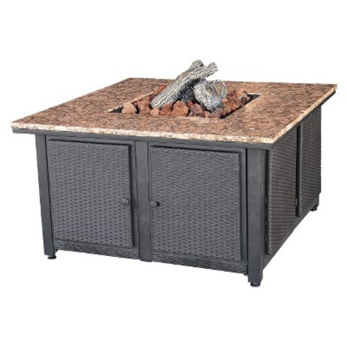 Propane Granite Firepit Table with Wicker Sides