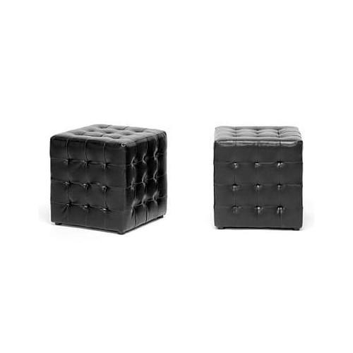 Baxton Studio Siskal Faux Leather Modern Cube Ottoman, Black