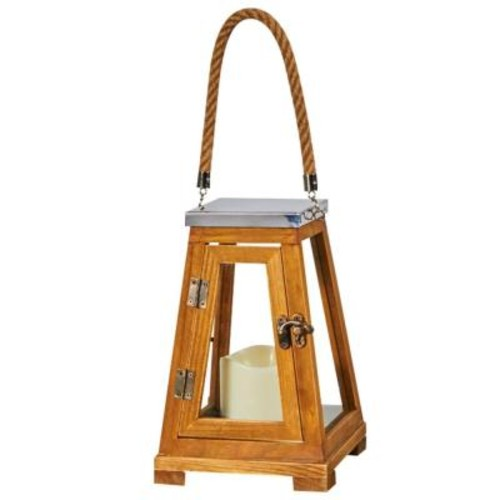 Smart Solar Newport 9 in. LED Candle Wooden Lantern