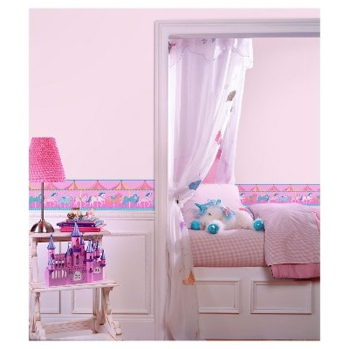 Fun4Walls Carousel Peel and Stick Border Set of 2 - Pink/Blue