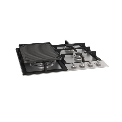Ancona 24 in. Gas Cooktop in Stainless Steel including Cast Iron Griddle with 4 Burners