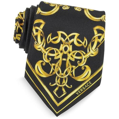 Black and Gold Ornamental Print Silk Tie