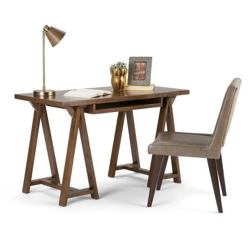 Simpli Home Sawhorse Medium Saddle Brown Desk