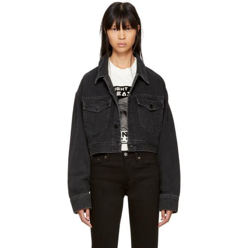 ALEXANDER WANG Black Oversized Cropped Denim Jacket