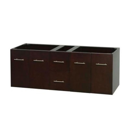 Wyndham Collection Centra 59 in. Double Vanity Cabinet Only in Espresso