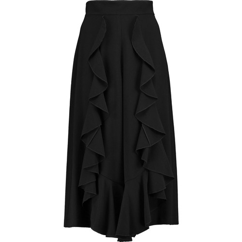 Mulan ruffle-trimmed crepe culottes