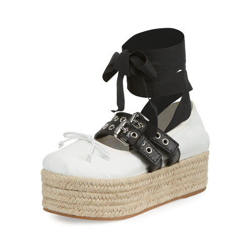 MIU MIU Ankle-Wrap Platform Espadrille Flat, Bianco/Nero