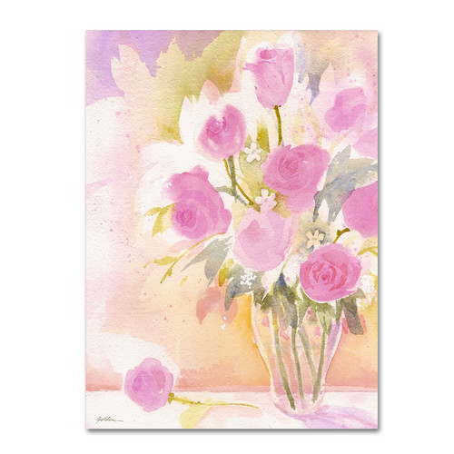 Trademark Global Sheila Golden 'Vase with Pink Roses' Canvas Art [Overall Dimensions : 18x24]