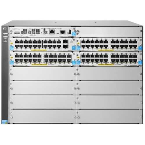 HPE 5412R-92G-PoE+/4SFP (No PSU) v2 zl2 Switch - 4 Open Mini-GBIC / 8 Open Module Slots Up to 64 GbE Ports Freescale P2020 Dual Core @ 1.2 GHz 4 GB DDR3 SODIMM 785.7 Mpps 1.0 Tb/s - J9826A