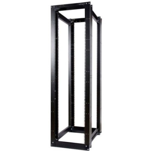 StarTech.com 45U 3300lb High Capacity 4 Post Open Server Equipment Rack - Flat Pack [Black, 45U - High Capacity, 4 Post]