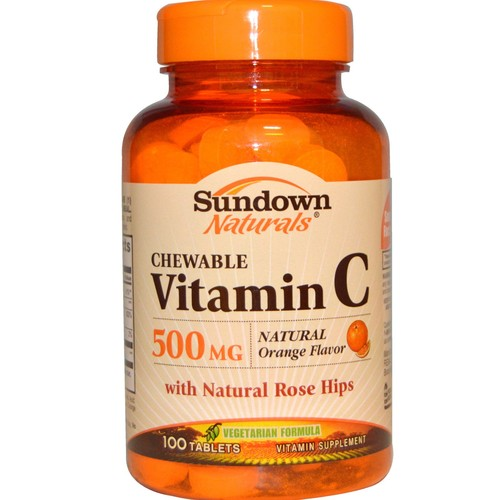Sundown Vitamin C 500 mg Chewable Tablets With Natural Rose Hips 100 Tablets (Pack of 2)