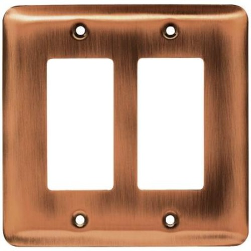 Liberty Stamped Round Decorative Double Rocker Switch Plate, Antique Copper