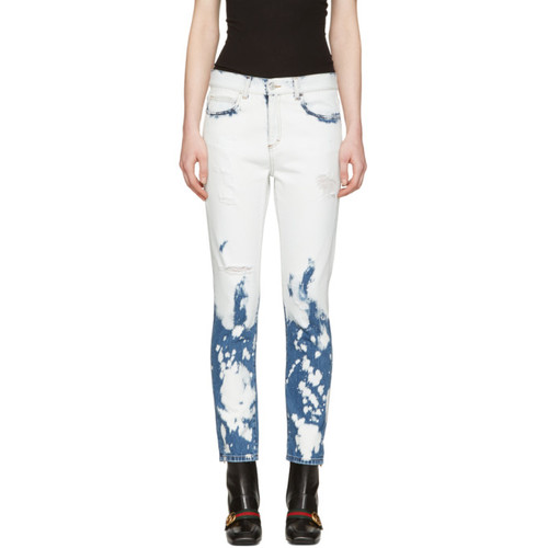 GUCCI Blue & White Chlorine Wash Jeans