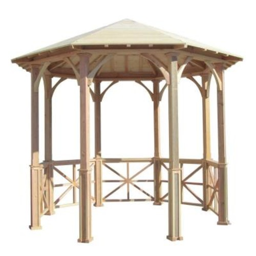 SamsGazebos 10 ft. Octagon English Cottage Garden Gazebo - Adjustable for Uneven Patio