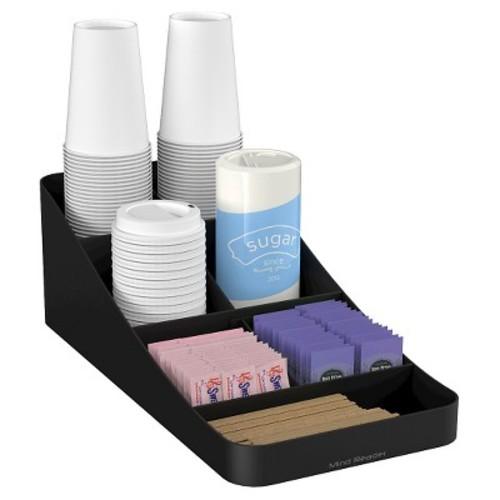Mind Reader Trove Seven-Compartment Coffee Condiment Organizer, Black, 7 3/4 x 16 x 5 1/4