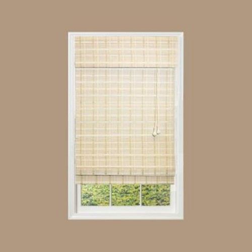 Home Decorators Collection White Washed Reed Weave Bamboo Roman Shade - 46 in. W x 48 in. L (Actual Size 45.5 in. W x 48 in. L)