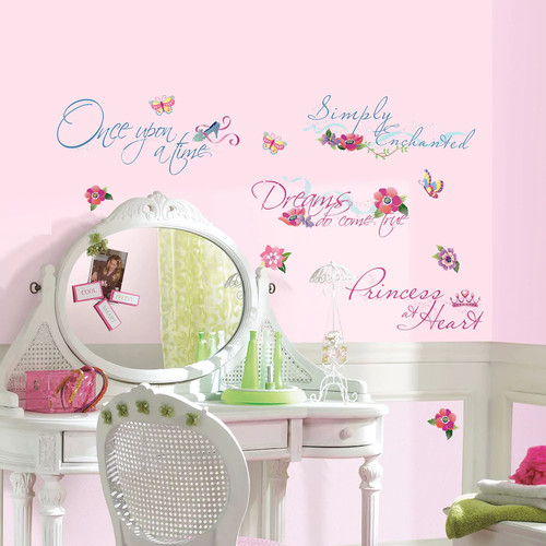RoomMates 5 in. x 11.5 in. Disney Princess Quotes Peel and Stick Wall Decal (15-Piece)