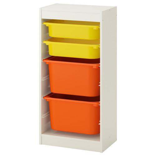 TROFAST Storage combination with boxes, white, green white